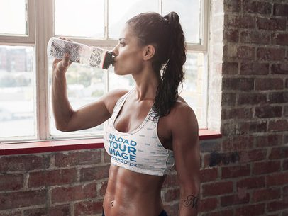 Sports Bra Mockup of a Fit Woman Drinking Water 37175-r-el2