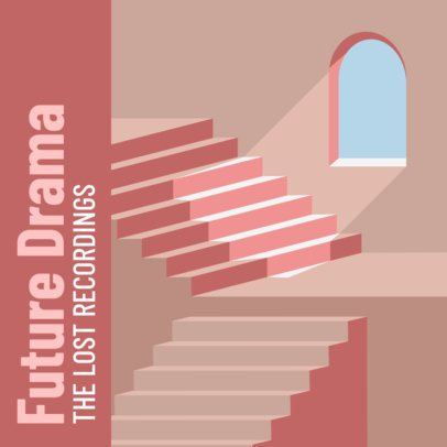 Album Cover Creator with the Illustration of a Pink Stairway 2636e