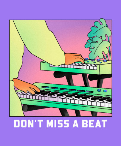 T-Shirt Design Template Featuring a Keyboardist Illustration 2638a