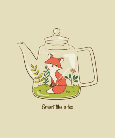 T-Shirt Design Generator Featuring a Fox in a Tea Pot 1942d