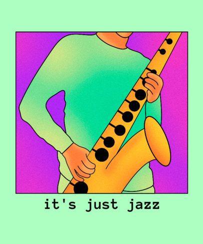 Jazz T-Shirt Design Creator Featuring a Saxophonist Illustration 2638h
