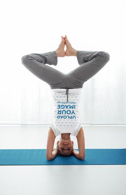 T-Shirt Mockup of a Woman Doing a Headstand 37077-r-el2