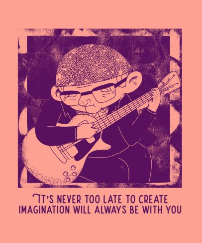 T-Shirt Design Template with an Illustration of an Elderly Musician 2628d
