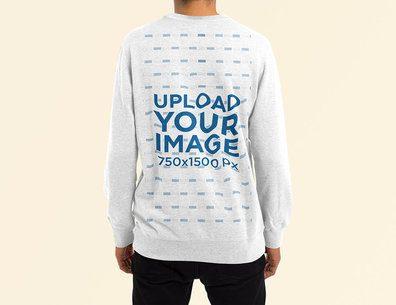 Back-View Mockup of a Man Wearing a Heather Sweatshirt at a Studio 4463-el1