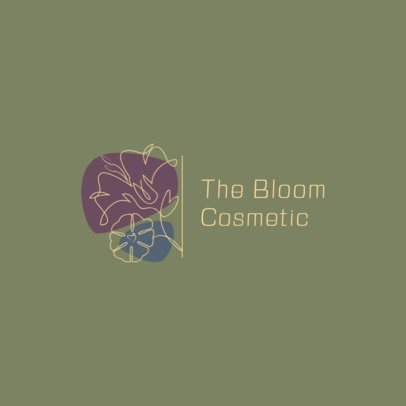 Logo Maker Featuring a Single-Line Flower Graphic 3373d