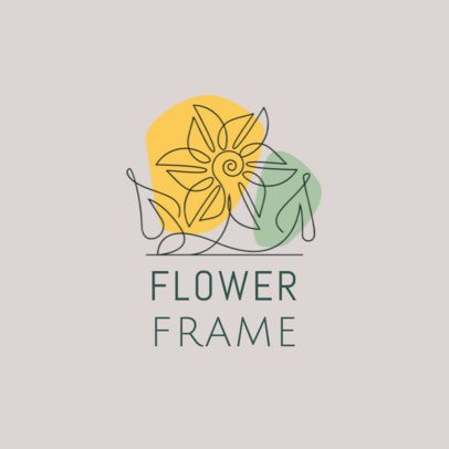 Logo Template Featuring a Continuous-Line Flower Illustration 3373b