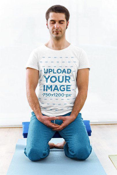T-Shirt Mockup of a Man Practicing Yoga 37299-r-el2