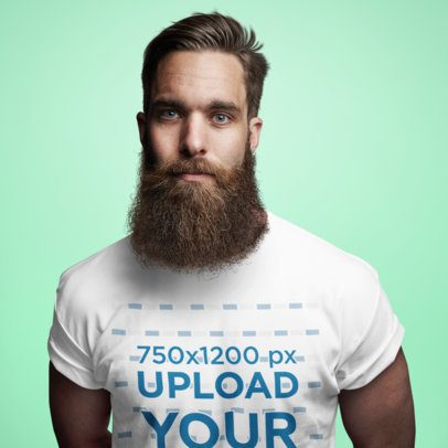 T-Shirt Mockup Featuring a Bearded Man in a Studio 38787-r-el2
