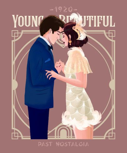 Vintage T-Shirt Design Creator with a Romantic Couple Illustration 2623g