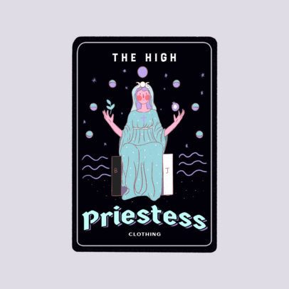 Logo Maker Featuring a Customizable Tarot Card with a Priestess Character 3369e