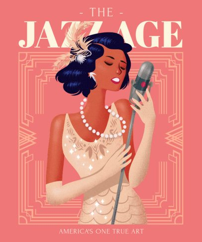 Vintage T-Shirt Design Generator Featuring a Female Jazz Singer Clipart 2623b