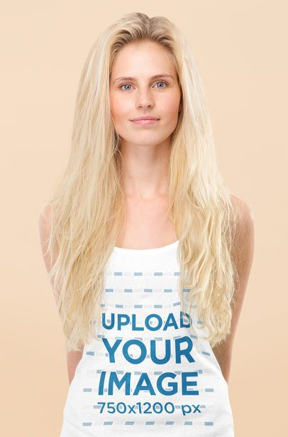 Mockup of a Woman with Long Hair Wearing a Knit Tank Top 38729-r-el2
