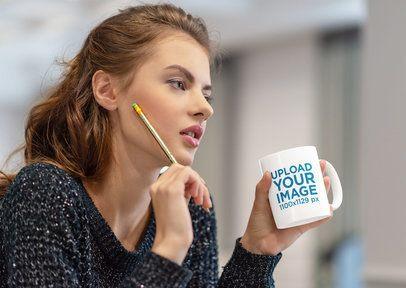 11 oz Mug Mockup Featuring a Woman at Home Drinking Coffee 38181-r-el2