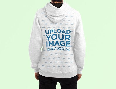 Back View Mockup of a Man Wearing a Heathered Hoodie Against a Plain Color Backdrop 4467-el1