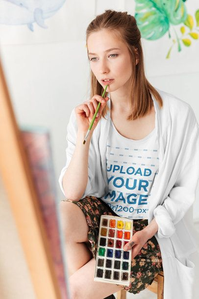 T-Shirt Mockup of a Young Woman Painting 38745-r-el2