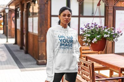 Hoodie Mockup of a Woman in an Athleisure Look Standing on the Street 4848-el1