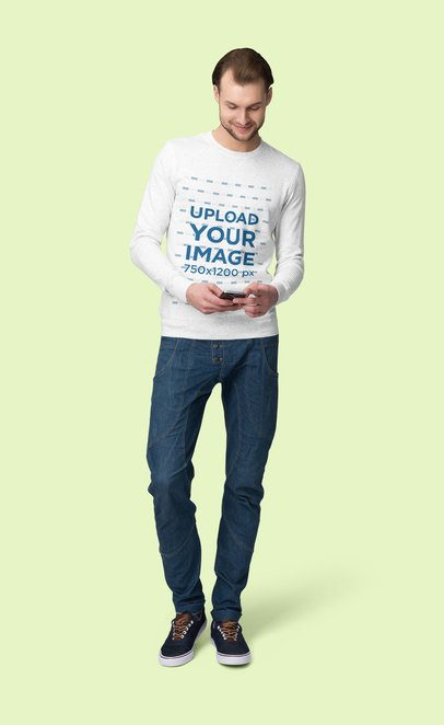 Sweatshirt Mockup Featuring a Man Looking at His Phone 4787-el1