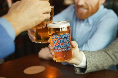 Beer Glass Mockup of a Group of Friends Toasting at a Bar 35411-r-el2