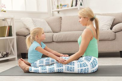 Leggings Mockup of Mom a Daughter Sitting Together During Their Yoga Practice 36986-r-el2