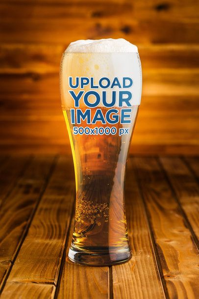 Beer Glass Mockup Featuring a Wooden Setting 37321-r-el2