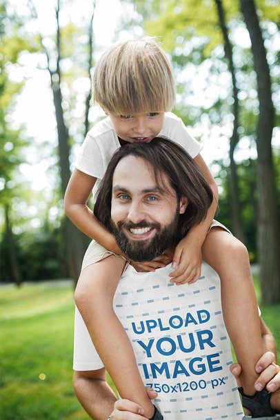 T-Shirt Mockup of a Father Playing with His Son 37527-r-el2