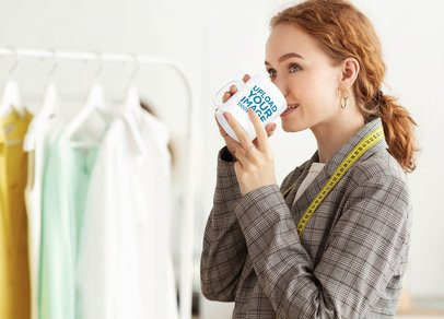 11 oz Mug Mockup of a Fashion Designer Drinking Coffee 38083-r-el2