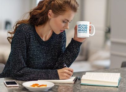 11 oz Coffee Mug Mockup of a Woman Taking Notes in the Kitchen 38182-r-el2