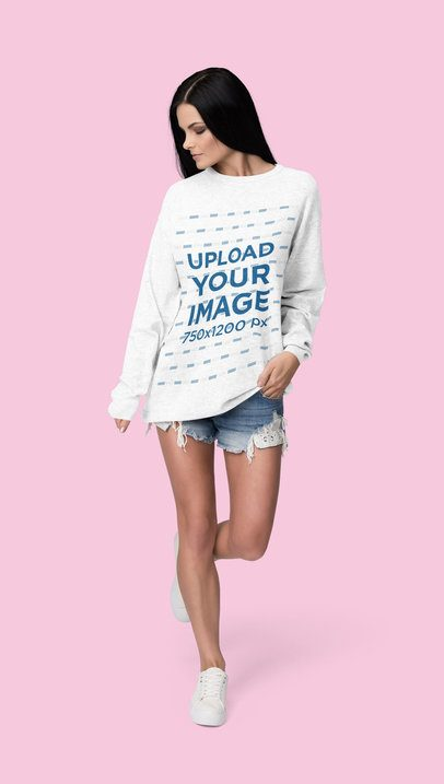 Crewneck Sweatshirt Mockup of a Woman Posing Against a Plain Color Backdrop 4790-el1