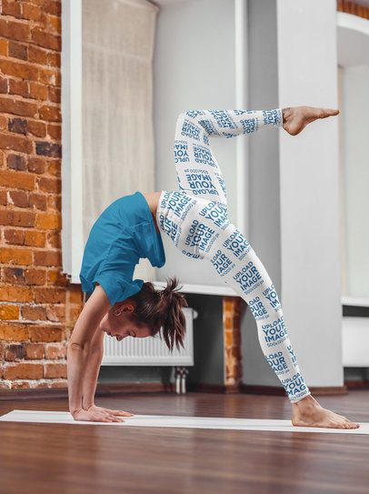 Sublimated Leggings Mockup Featuring a Woman Doing a Backbend 38462-r-el2