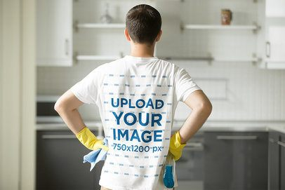 Back-View T-Shirt Mockup of a Man Cleaning His Home 37924-r-el2
