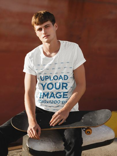Mockup of a Skater with a Tee Posing on the Street 38703-r-el2