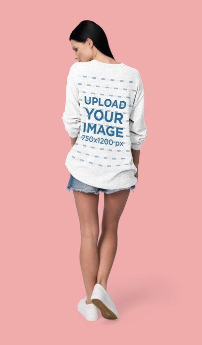 Back-View Mockup of a Woman Wearing a Loose Sweatshirt in a Studio 4791-el1