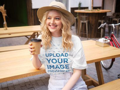 Mockup of a Cheerful Young Woman Wearing a T-Shirt 38689-r-el2