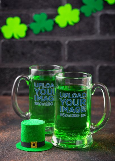 Beer Glass Mockup Featuring a St Patrick's Day Theme 35642-r-el2