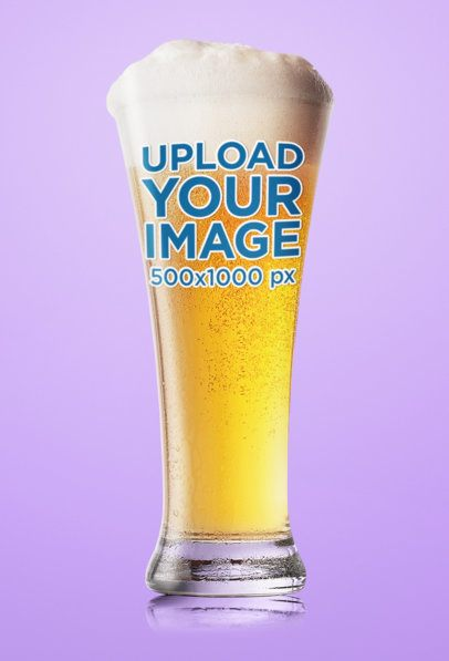 Mockup of a Tall Beer Glass Placed Against a Plain Color Backdrop 35538-r-el2