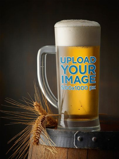Mockup of a Beer Glass Placed on a Barrel 36288-r-el2