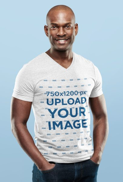 V-Neck T-Shirt Mockup of a Smiling Man in a Studio 38948-r-el2