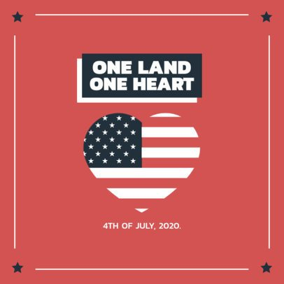 Instagram Post Creator Featuring an American Heart for Independence Day 1952d-el1