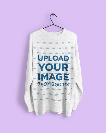 Mockup of a Heather Sweatshirt on a Metal Hanger 4793-el1