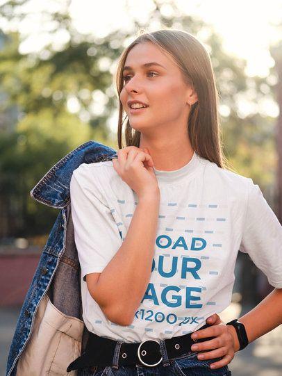 T-Shirt Mockup of a Stylish Woman Posing on the Street 38695-r-el2