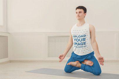 Tank Top Mockup of a Man Doing and Advanced Yoga Pose 36989-r-el2
