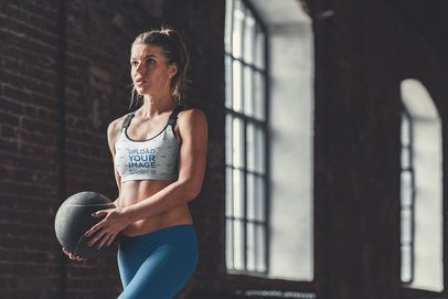 Sports Bra Mockup of a Woman Training with a Med Ball 38438-r-el2