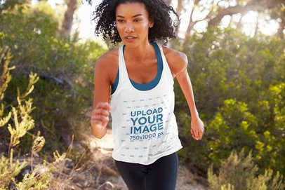 Tank Top Mockup of a Curly-Haired Woman Running in the Woods 39020-r-el2