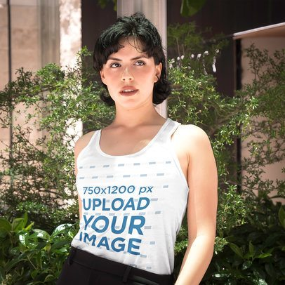 Tank Top Mockup of a Short-Haired Woman Posing by Some Plants 4715-el1