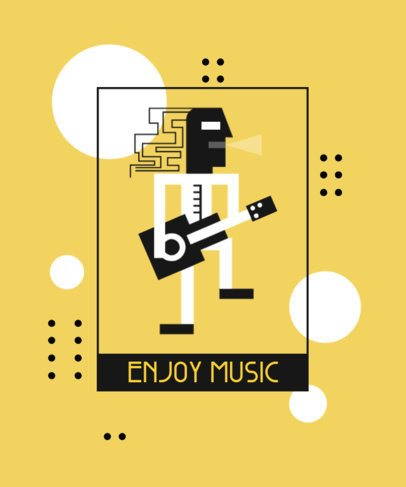 T-Shirt Design Creator Featuring an Abstract Graphic of a Man Playing a Guitar 1962c-el1