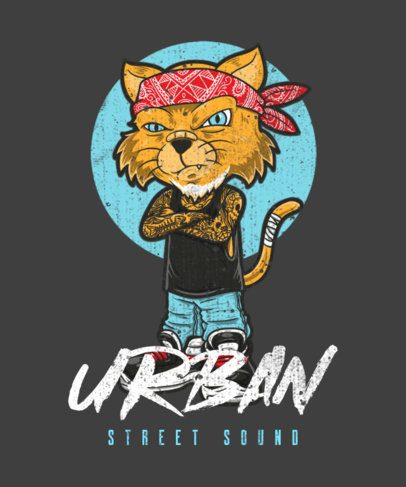 Illustrated T-Shirt Design Creator Featuring a Cat with a Bandana 1961c-el1