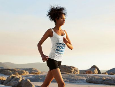 Tank Top Mockup of a Kinky-Haired Woman Running in the Beach 39002-r-el2