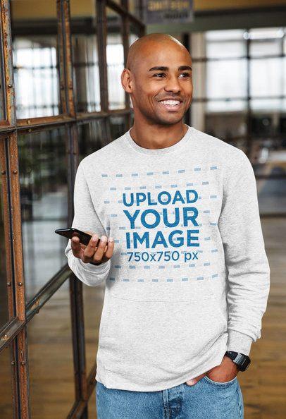 Mockup of a Man Wearing a Heathered Sweatshirt 38963-r-el2