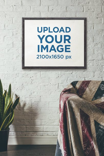 Art Print Mockup Featuring a Painted Brick Wall and an Indoor Plant 4876-el1