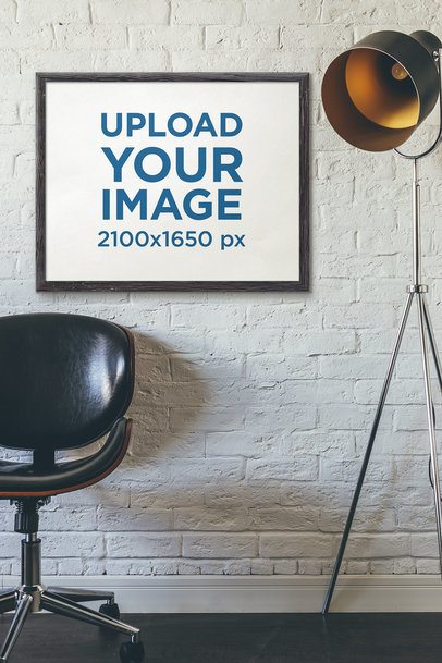 Art Print Mockup Featuring a Modern Floor Lamp and a Black Leather Chair 4877-el1